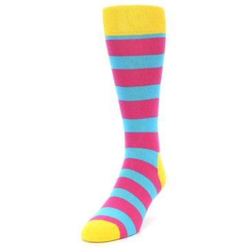 Image of Blue Pink Stripes Men's Dress Socks (side-2-front-06)