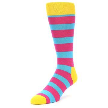 Image of Blue Pink Stripes Men's Dress Socks (side-2-front-07)