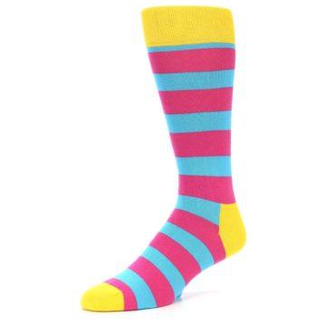 Image of Blue Pink Stripes Men's Dress Socks (side-2-front-08)