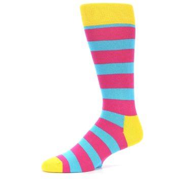 Image of Blue Pink Stripes Men's Dress Socks (side-2-09)