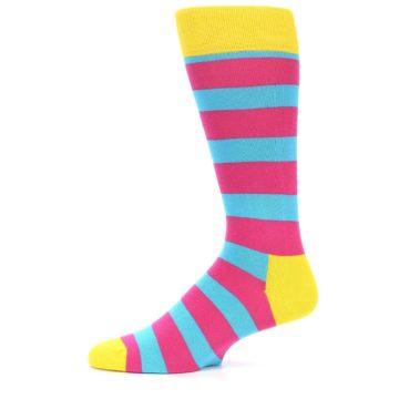 Image of Blue Pink Stripes Men's Dress Socks (side-2-10)