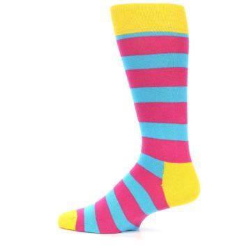 Image of Blue Pink Stripes Men's Dress Socks (side-2-12)