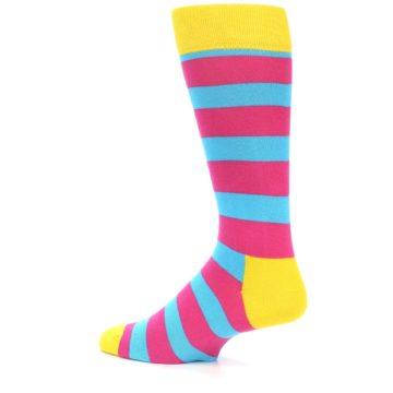Image of Blue Pink Stripes Men's Dress Socks (side-2-13)