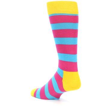 Image of Blue Pink Stripes Men's Dress Socks (side-2-back-14)