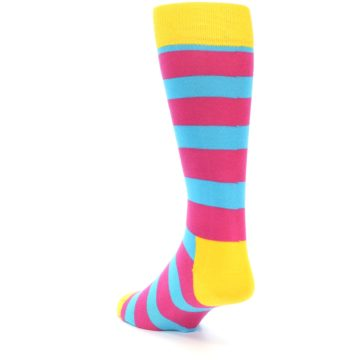 Image of Blue Pink Stripes Men's Dress Socks (side-2-back-15)