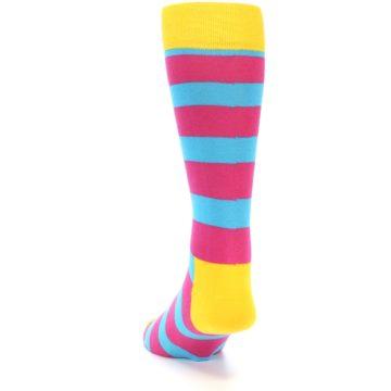Image of Blue Pink Stripes Men's Dress Socks (side-2-back-16)