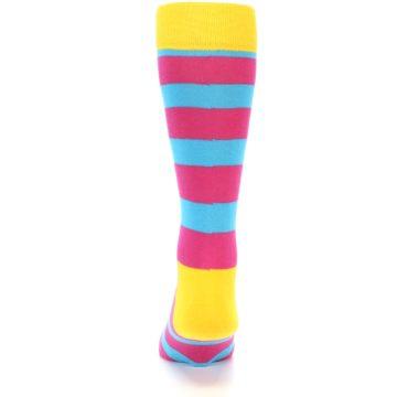 Image of Blue Pink Stripes Men's Dress Socks (back-17)