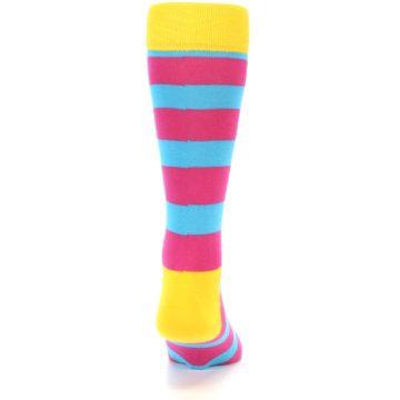 Image of Blue Pink Stripes Men's Dress Socks (back-18)