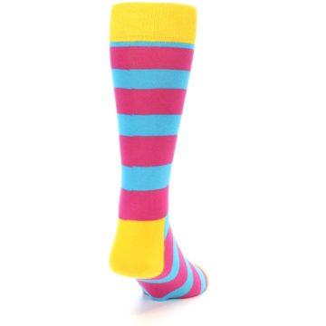 Image of Blue Pink Stripes Men's Dress Socks (back-19)