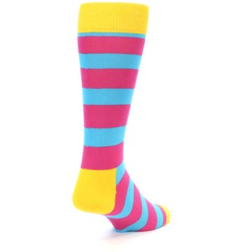 Image of Blue Pink Stripes Men's Dress Socks (side-1-back-20)