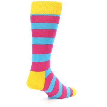 Image of Blue Pink Stripes Men's Dress Socks (side-1-back-21)