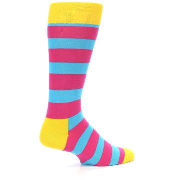 Image of Blue Pink Stripes Men's Dress Socks (side-1-back-22)