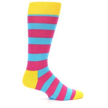 Image of Blue Pink Stripes Men's Dress Socks (side-1-23)