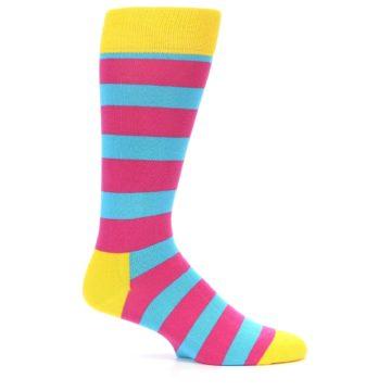 Image of Blue Pink Stripes Men's Dress Socks (side-1-24)