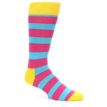 Image of Blue Pink Stripes Men's Dress Socks (side-1-25)