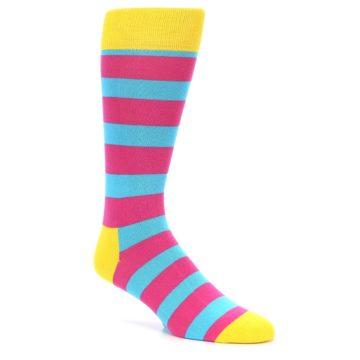 Image of Blue Pink Stripes Men's Dress Socks (side-1-26)