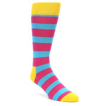 Image of Blue Pink Stripes Men's Dress Socks (side-1-27)