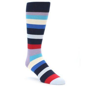 Image of Navy Blue Red Stripes Men's Dress Socks (side-1-front-01)