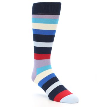 Image of Navy Blue Red Stripes Men's Dress Socks (side-1-front-02)