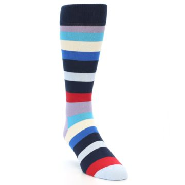 Image of Navy Blue Red Stripes Men's Dress Socks (side-1-front-03)