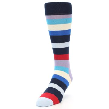 Image of Navy Blue Red Stripes Men's Dress Socks (side-2-front-07)