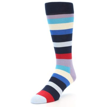 Image of Navy Blue Red Stripes Men's Dress Socks (side-2-front-08)