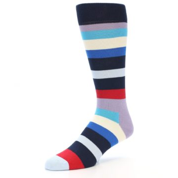 Image of Navy Blue Red Stripes Men's Dress Socks (side-2-09)