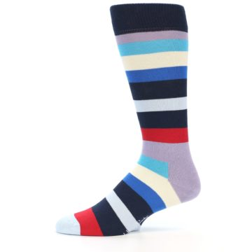 Image of Navy Blue Red Stripes Men's Dress Socks (side-2-11)