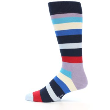 Image of Navy Blue Red Stripes Men's Dress Socks (side-2-12)