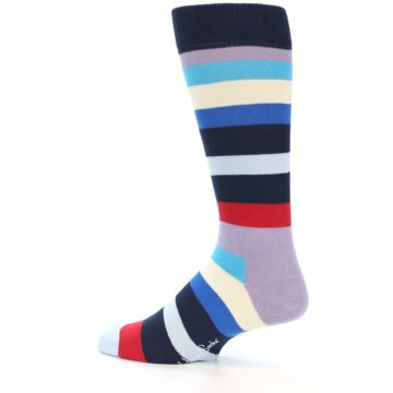 Image of Navy Blue Red Stripes Men's Dress Socks (side-2-13)