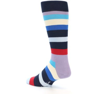 Image of Navy Blue Red Stripes Men's Dress Socks (side-2-back-14)