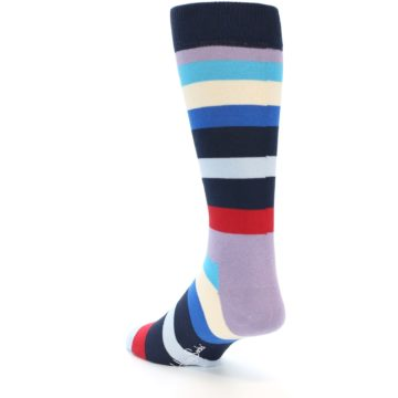 Image of Navy Blue Red Stripes Men's Dress Socks (side-2-back-15)