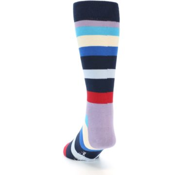 Image of Navy Blue Red Stripes Men's Dress Socks (side-2-back-16)