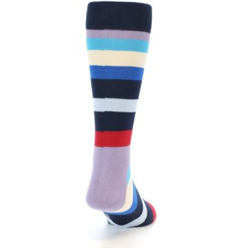 Image of Navy Blue Red Stripes Men's Dress Socks (back-19)