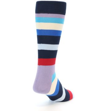 Image of Navy Blue Red Stripes Men's Dress Socks (side-1-back-20)