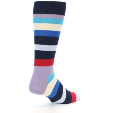Image of Navy Blue Red Stripes Men's Dress Socks (side-1-back-21)