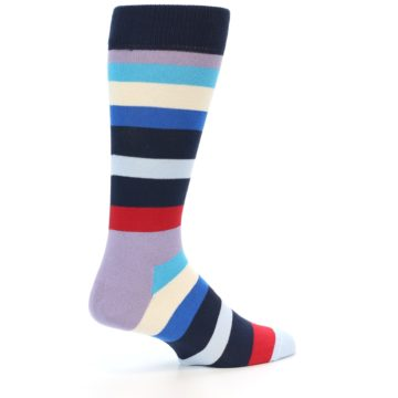 Image of Navy Blue Red Stripes Men's Dress Socks (side-1-back-22)