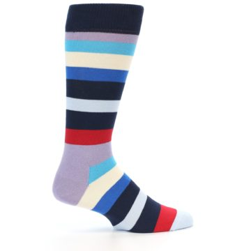 Image of Navy Blue Red Stripes Men's Dress Socks (side-1-23)