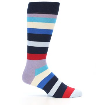 Image of Navy Blue Red Stripes Men's Dress Socks (side-1-24)