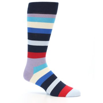 Image of Navy Blue Red Stripes Men's Dress Socks (side-1-25)