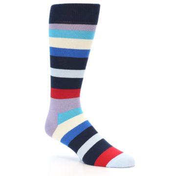 Image of Navy Blue Red Stripes Men's Dress Socks (side-1-26)