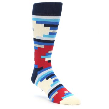 Image of Blue White Red Partial Stripes Men's Dress Socks (side-1-front-01)