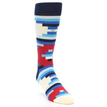 Image of Blue White Red Partial Stripes Men's Dress Socks (side-1-front-02)