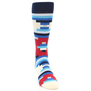Image of Blue White Red Partial Stripes Men's Dress Socks (side-1-front-03)