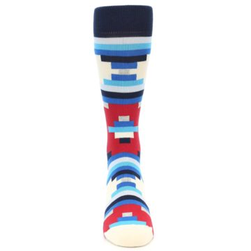 Image of Blue White Red Partial Stripes Men's Dress Socks (front-04)