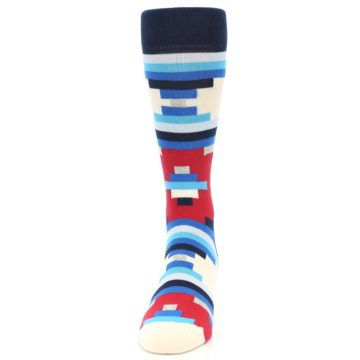 Image of Blue White Red Partial Stripes Men's Dress Socks (front-05)