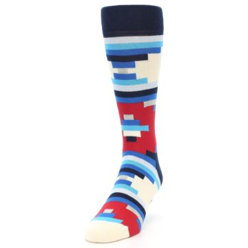 Image of Blue White Red Partial Stripes Men's Dress Socks (side-2-front-06)