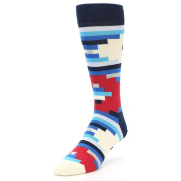 Image of Blue White Red Partial Stripes Men's Dress Socks (side-2-front-07)