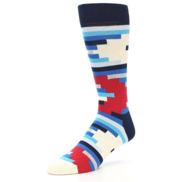 Image of Blue White Red Partial Stripes Men's Dress Socks (side-2-front-08)