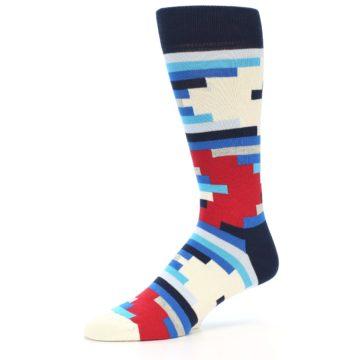 Image of Blue White Red Partial Stripes Men's Dress Socks (side-2-09)